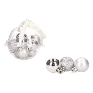 Kerstboom decoratie mini kerstballetjes 3 cm 12 x classic silver