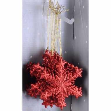 Kerstboom decoratie rode glitter sneeuwvlok hanger type 1 10cm