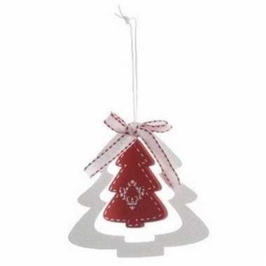 Kerstboom decoratie rode kerstboom 10 cm