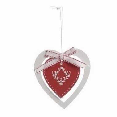 Kerstboom decoratie rood hart 10 cm