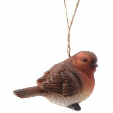 Kerstboom decoratie roodborstje vogel hanger 7 cm type 1