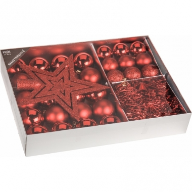 Kerstboom decoratie set 33-delig rood