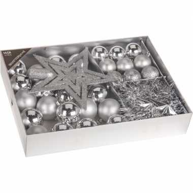 Kerstboom decoratie set 33-delig zilver