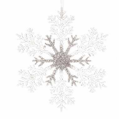 Kerstboom decoratie sneeuwvlok 21 cm transparant/zilver