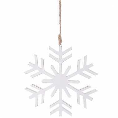 Kerstboom decoratie witte sneeuwvlok hanger 20 cm
