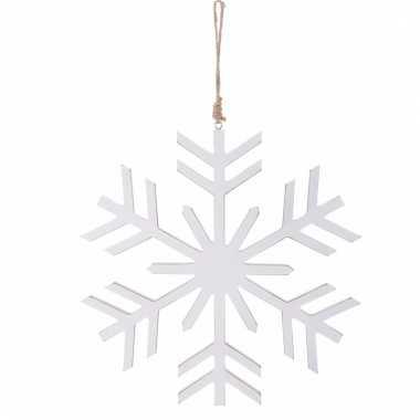 Kerstboom decoratie witte sneeuwvlok hanger 30 cm
