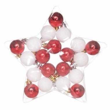 Kerstboom decoratiekerstballen mix rood/wit 20 stuks onbreekbaar