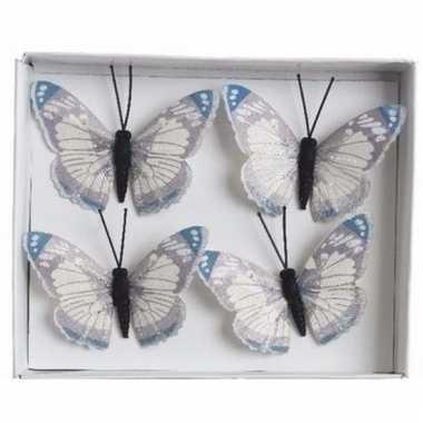 Kerstboom vlinders blauw/wit