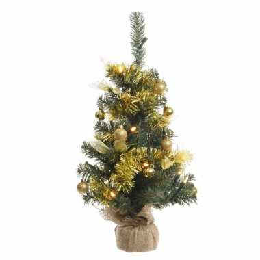 Kerstboompje groen/goud met verlichting 60 cm
