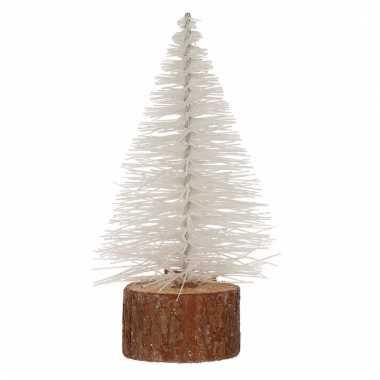 Kerstboompje op stam 14 cm wit