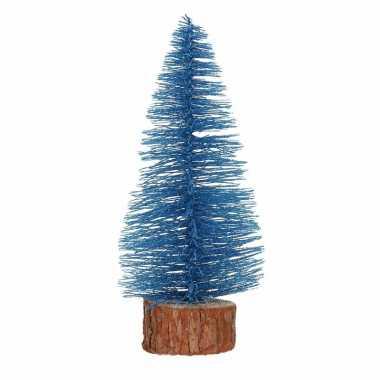 Kerstboompje op stam 25 cm blauw