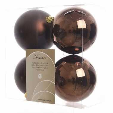 Kerstboomversiering bruine ballen 10 cm
