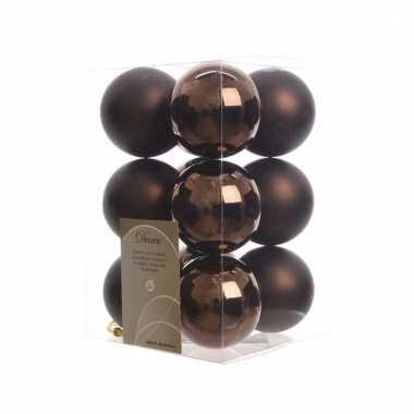 Kerstboomversiering bruine ballen 6 cm