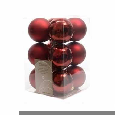 Kerstboomversiering donker rode ballen 6 cm