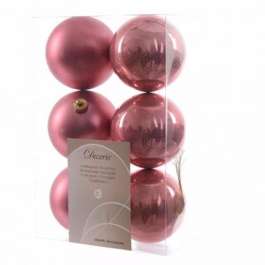 Kerstboomversiering oud roze ballen 8 cm