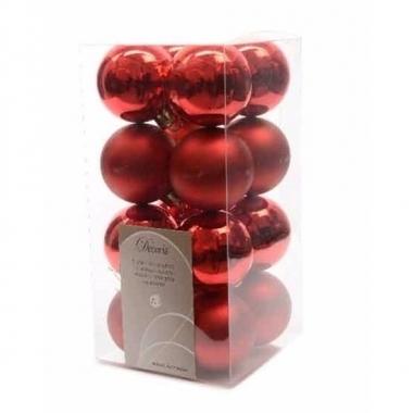 Kerstboomversiering rode ballen 4 cm