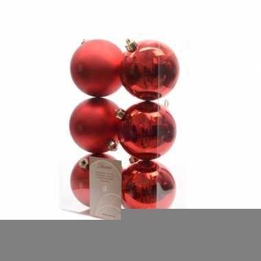 Kerstboomversiering rode ballen 8 cm