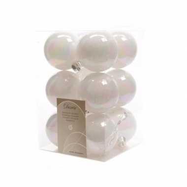 Kerstboomversiering witte ballen 6 cm
