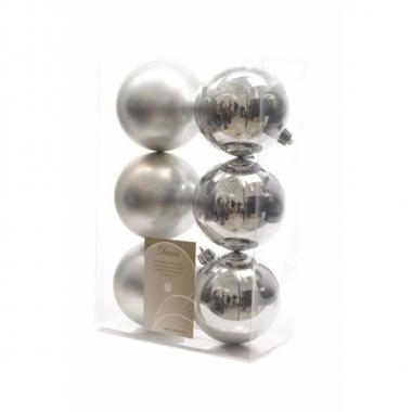 Kerstboomversiering zilveren ballen 8 cm