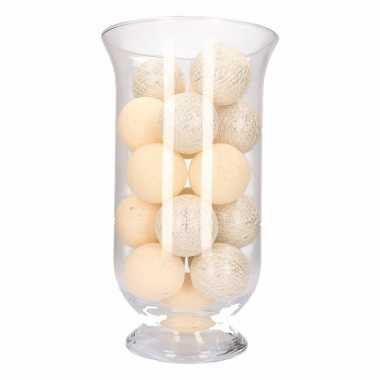 Kerstdecoratie witte/zilveren verlichting in vaas