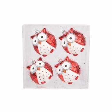 Kerstdieren deco uiltjes 4x