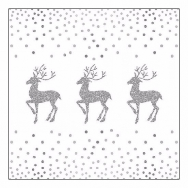 Kerstdiner servetten deer and dots white 20 stuks
