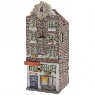 Kerstdorp huisje bruine amsterdamse gevel 16 cm