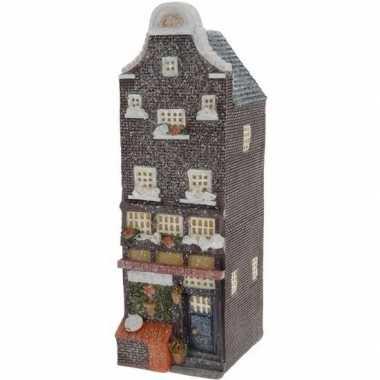 Kerstdorp huisje zwarte amsterdamse gevel 16 cm