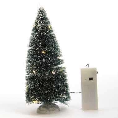 Kerstdorp maken besneeuwde dennenboom met led verlichting 22 cm
