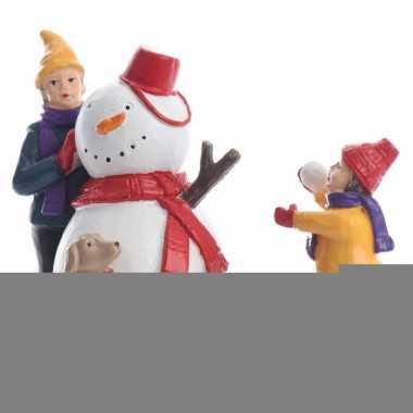 Kerstdorp maken figuurtjes sneeuwpop bouwen 9,5 cm