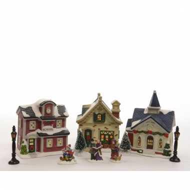 Kerstdorp maken school, kerk en huisje set led licht 36 cm