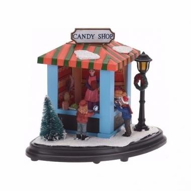 Kerstdorp maken snoep marktkraampje met led licht 15 cm