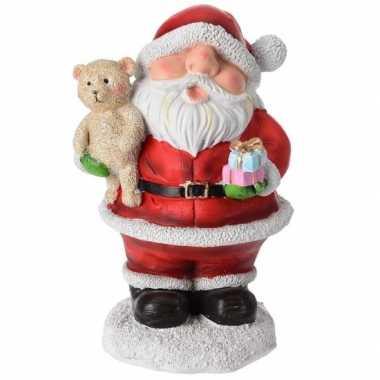 Kerstman beeldje met teddybeer 10 cm