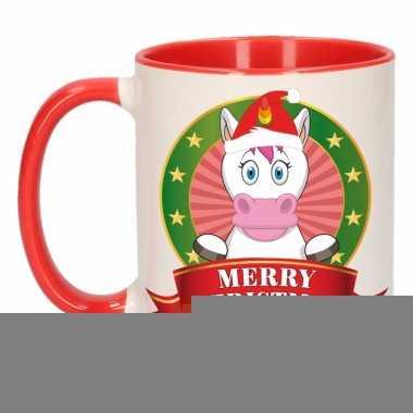 Kerstontbijt theebeker rood/wit eenhoorn 300 ml