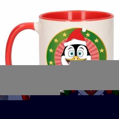 Kerstontbijt theebeker rood/wit pinguin 300 ml