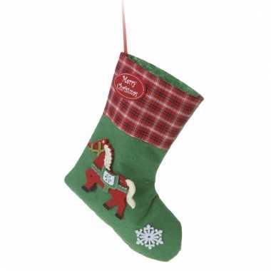 Kerstsok groen met paard type 3 20 cm
