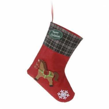 Kerstsok rood met paard type 3 20 cm