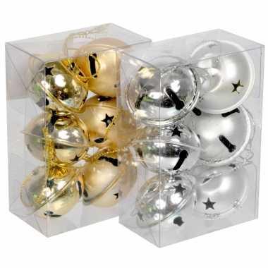 Kerststukje gouden belletjes 6 stuks