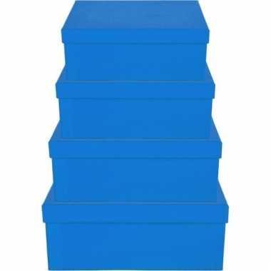 Kerstversiering kadodoosje/cadeaudoosje blauw 17 cm