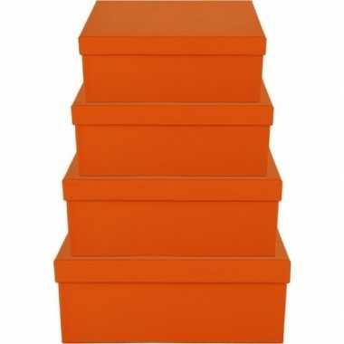 Kerstversiering kadodoosje/cadeaudoosje oranje 19 cm