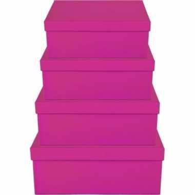 Kerstversiering kadodoosje/cadeaudoosje roze 8 cm