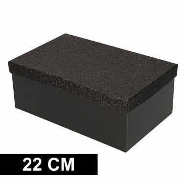 Kerstversiering kadodoosje/cadeaudoosje zwart/glitter 22 cm