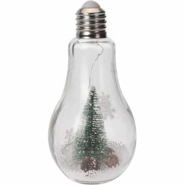 Kerstversiering kerstboompje in gloeilamp met verlichting 22 cm