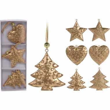 Kerstversiering metalen gouden hangers 3 stuks