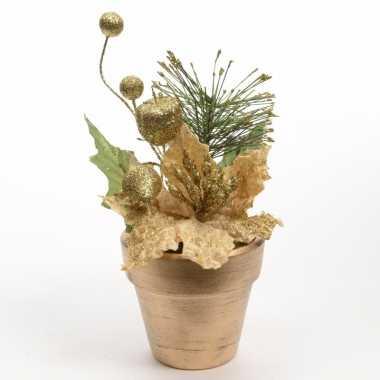 Kerstversiering poinsetta kerstster goud 16 cm
