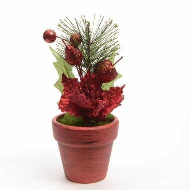 Kerstversiering poinsetta kerstster rood 16 cm