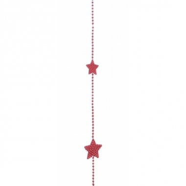 Kerstversiering sterren kralen ketting rood 270 cm