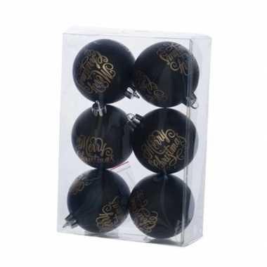 Kerstversiering zwarte kerstballen van kunststof 7 cm