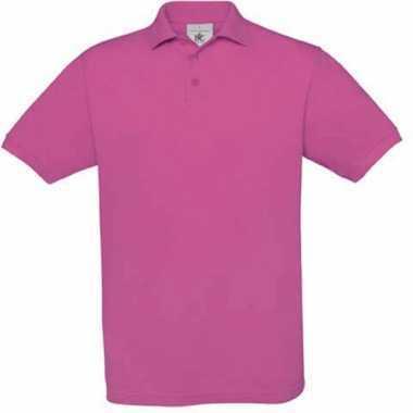 Kids polo met ribkraag fuchsia roze trend