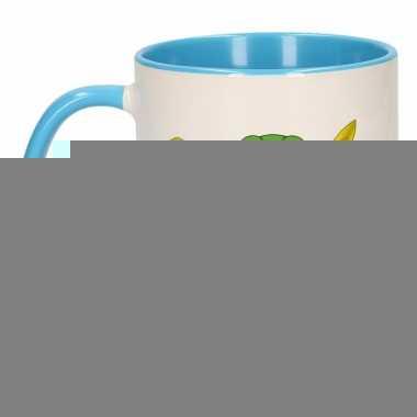 Kikker theebeker blauw / wit plons 300 ml
